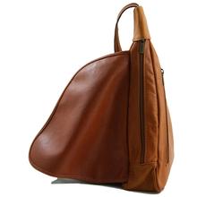 Rucsac dama din piele naturala Tuscany Leather, maro inchis, Hanoi