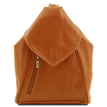 Rucsac dama casual din piele naturala Tuscany Leather, coniac, Delhi