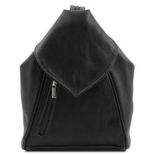 Rucsac dama casual din piele naturala Tuscany Leather, negru, Delhi