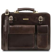 Servieta  Tuscany Leather cu doua compartimente din piele maro inchis Venezia