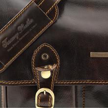 Servieta barbati din piele naturala Tuscany Leather, maro, Modena