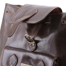 Rucsac din piele Tuscany Leather maro inchis Singapore