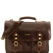 Servieta Tuscany Leather cu doua compartimente din piele maro inchis Modena