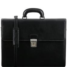 Servieta barbati Tuscany Leather din piele neagra cu doua compartimente Parma