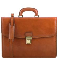 Servieta barbati din piele naturala Tuscany Leather, honey, Amafli
