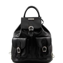 Rucsac din piele Tuscany Leather, negru,Tokyo