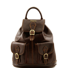 Rucsac din piele Tuscany Leather maro inchis Tokyo