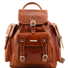 Rucsac dama din piele naturala Tuscany Leather honey Pechino