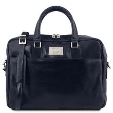 Geanta laptop barbati din piele naturala Tuscany Leather, Urbino, albastru inchis