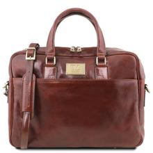 Geanta laptop barbati din piele naturala Tuscany Leather, Urbino, maro