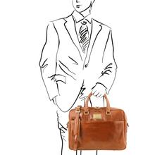 Geanta laptop barbati din piele naturala Tuscany Leather, Urbino, honey