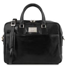 Geanta laptop barbati din piele naturala Tuscany Leather, Urbino, neagra