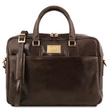 Geanta laptop barbati din piele naturala Tuscany Leather, Urbino, maro inchis