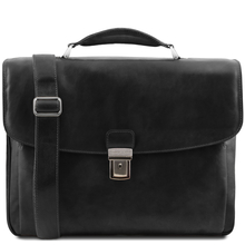 Geanta laptop barbati Tuscany Leather multi-compartiment din piele naturala neagra Alessandria