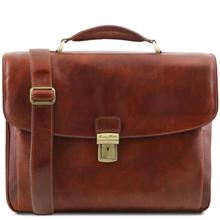 Geanta laptop barbati Tuscany Leather multi-compartiment din piele naturala maro Alessandria