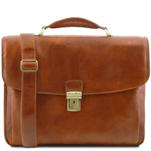 Geanta laptop barbati Tuscany Leather multi-compartiment din piele naturala honey Alessandria