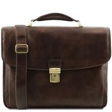 Geanta laptop barbati Tuscany Leather multi-compartiment din piele naturala maro inchis Alessandria