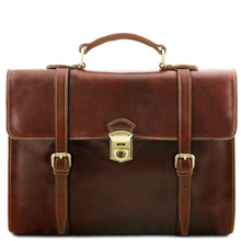 Geanta laptop din piele naturala Tuscany Leather, maro, Viareggio