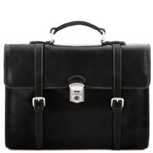 Geanta laptop din piele naturala Tuscany Leather, neagra, Viareggio