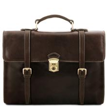 Servieta laptop Tuscany Leather maro inchis cu trei compartimente Viareggio