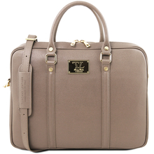 Geanta laptop dama eleganta Tuscany Leather, Prato, dark taupe