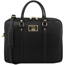 Geanta laptop dama eleganta Tuscany Leather, Prato, neagra