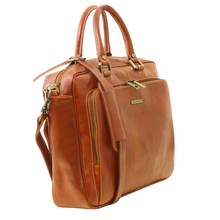 Geanta laptop din piele naturala Tuscany Leather, honey, Pisa