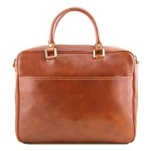 Geanta laptop din piele naturala Tuscany Leather, honey, Pisa