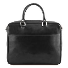 Geanta laptop  piele naturala Tuscany Leather, neagra, Pisa