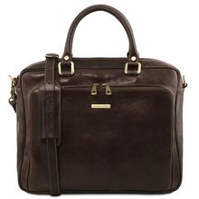 Geanta laptop din piele naturala Tuscany Leather, maro inchis, Pisa
