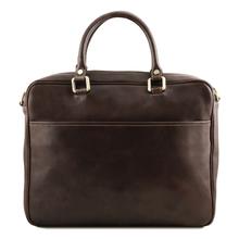 Geanta laptop  piele naturala Tuscany Leather, maro inchis, Pisa