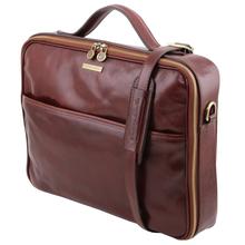 Geanta laptop din piele naturala Tuscany Leather, maro inchis, Vicenza
