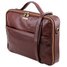 Geanta laptop din piele naturala Tuscany Leather, maro inchis, Vicenza