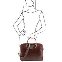Geanta laptop dama din piele naturala Tuscany Leather, maro inchis, Prato