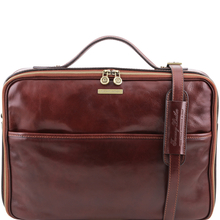 Geanta laptop din piele naturala Tuscany Leather, maro, Vicenza