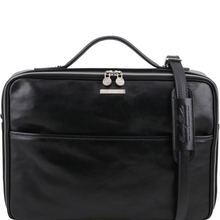 Geanta laptop din piele naturala Tuscany Leather, neagra, Vicenza