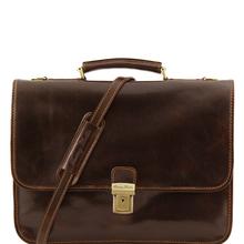 Servieta diplomat Tuscany Leather din piele maro inchis cu doua compartimente Torino