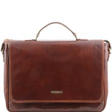 Geanta laptop barbati din piele naturala Tuscany Leather, maro, Padova