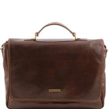 Geanta laptop barbati din piele naturala Tuscany Leather, maro inchis, Padova