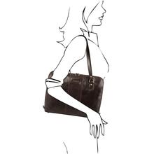 Servieta dama din piele naturala Tuscany Leather, maro inchis, Ravenna