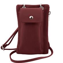 Geanta telefon Tuscany Leather din piele bordo mini cross