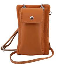Geanta telefon Tuscany Leather din piele coniac mini cross