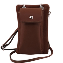 Geanta telefon Tuscany Leather din piele maro mini cross