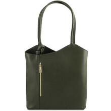 Geanta convertibila in rucsac Tuscany Leather din piele verde inchis Patty