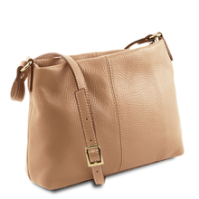 Geanta piele naturala dama Tuscany Leather, sampanie