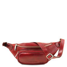 Borseta de brau barbati din piele naturala Tuscany Leather, rosie