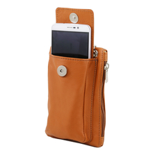 Geanta  Tuscany Leather din piele rosie telefon mini cross