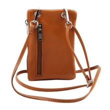 Geanta telefon Tuscany Leather din piele coniac Minicross