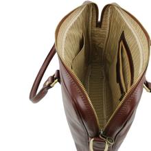 Geanta laptop dama din piele naturala Tuscany Leather, rosie, Prato