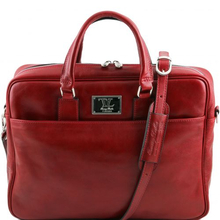 Genti dama | Urbino - Servieta laptop din piele cu buzunar frontal rosie - Karine